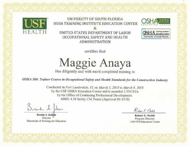 certifications – maggie anaya